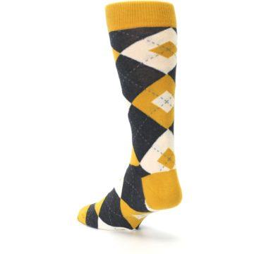 Image of Mustard Yellow Grey Argyle Men's Dress Socks (side-2-back-15)