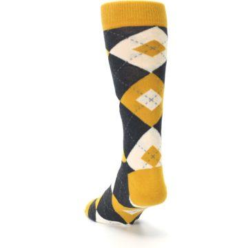 Image of Mustard Yellow Grey Argyle Men's Dress Socks (side-2-back-16)