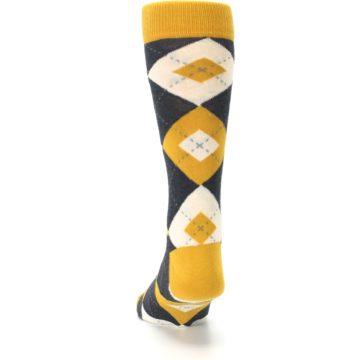 Image of Mustard Yellow Grey Argyle Men's Dress Socks (back-17)