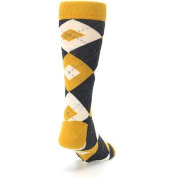 Image of Mustard Yellow Grey Argyle Men's Dress Socks (side-1-back-20)