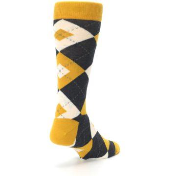 Image of Mustard Yellow Grey Argyle Men's Dress Socks (side-1-back-21)