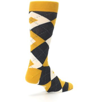 Image of Mustard Yellow Grey Argyle Men's Dress Socks (side-1-back-22)