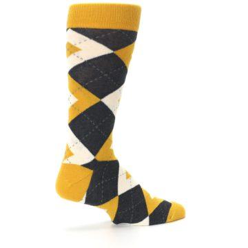 Image of Mustard Yellow Grey Argyle Men's Dress Socks (side-1-23)