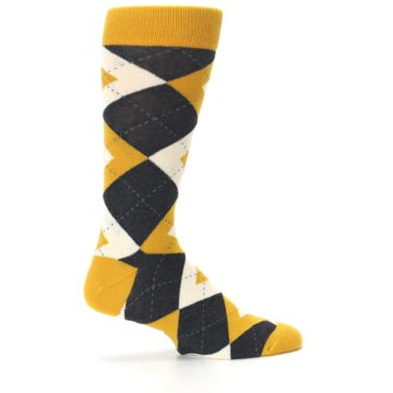 Image of Mustard Yellow Grey Argyle Men's Dress Socks (side-1-24)