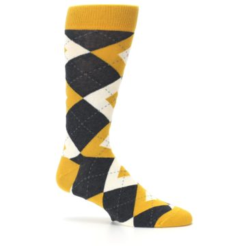 Image of Mustard Yellow Grey Argyle Men's Dress Socks (side-1-25)