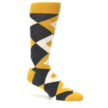 Image of Mustard Yellow Grey Argyle Men's Dress Socks (side-1-26)