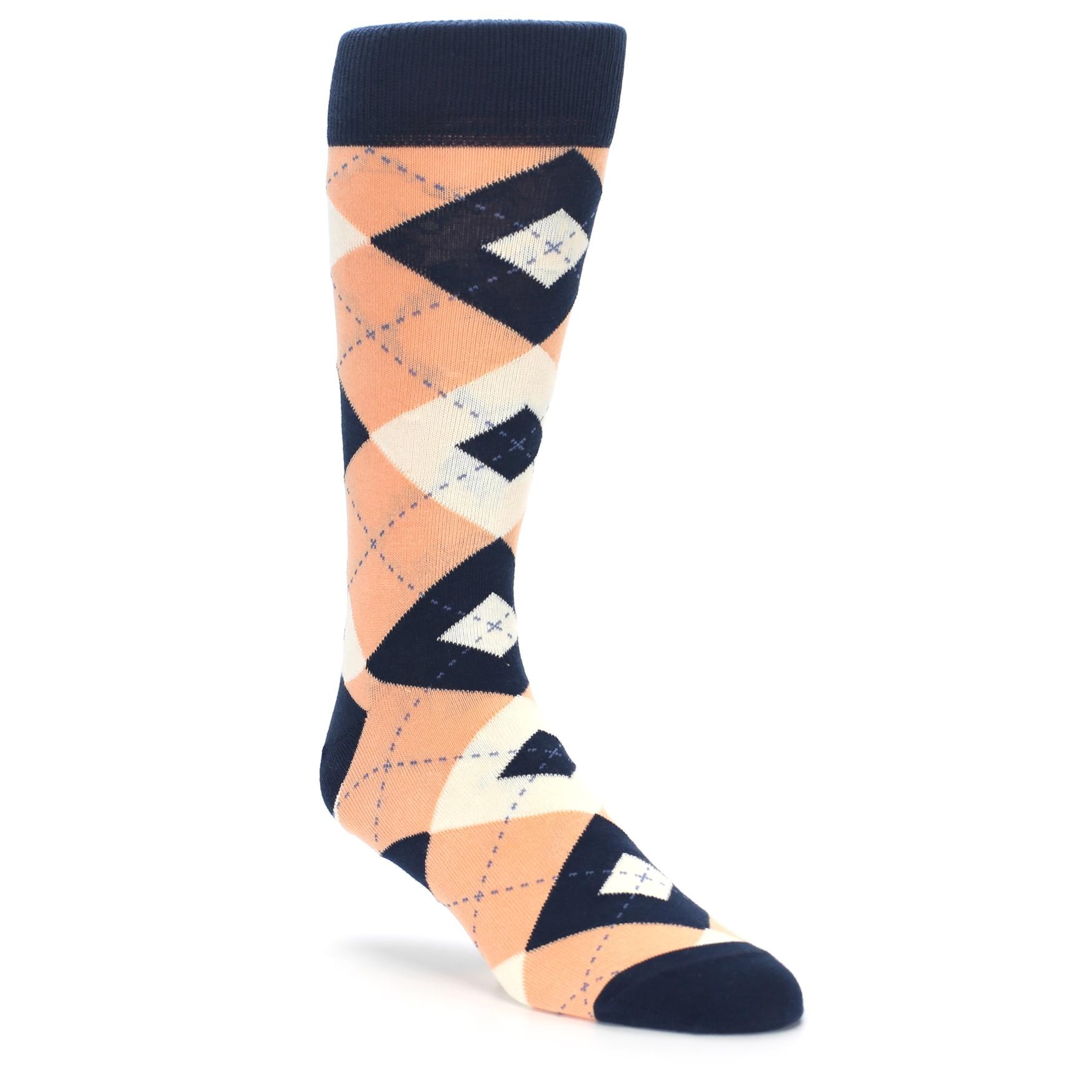 Peach Navy Argyle Wedding Groomsmen Men's Dress Socks