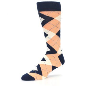 Image of Peach Navy Argyle Wedding Groomsmen Men's Dress Socks (side-2-09)
