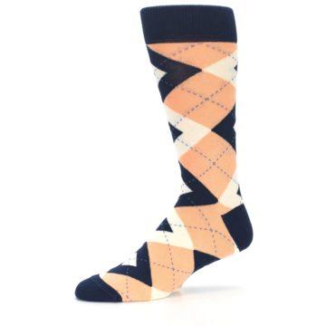 Image of Peach Navy Argyle Wedding Groomsmen Men's Dress Socks (side-2-10)