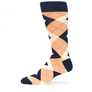 Image of Peach Navy Argyle Wedding Groomsmen Men's Dress Socks (side-2-11)