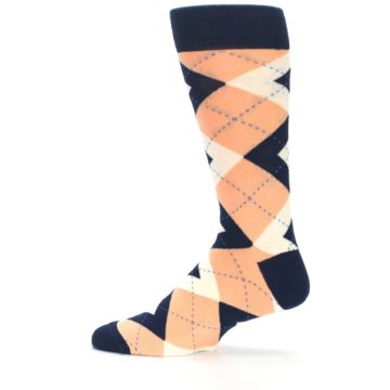 Image of Peach Navy Argyle Wedding Groomsmen Men's Dress Socks (side-2-12)