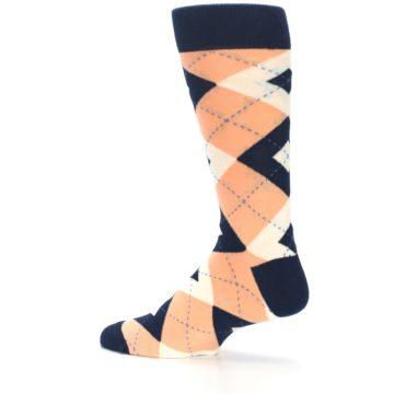 Image of Peach Navy Argyle Wedding Groomsmen Men's Dress Socks (side-2-13)