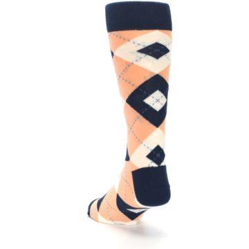 Image of Peach Navy Argyle Wedding Groomsmen Men's Dress Socks (side-2-back-16)