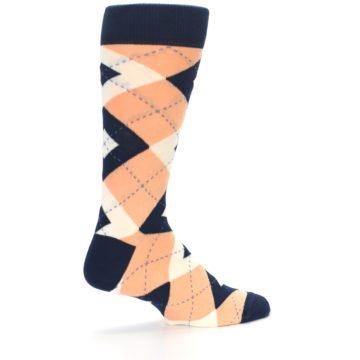 Image of Peach Navy Argyle Wedding Groomsmen Men's Dress Socks (side-1-23)