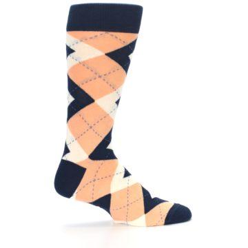 Image of Peach Navy Argyle Wedding Groomsmen Men's Dress Socks (side-1-24)