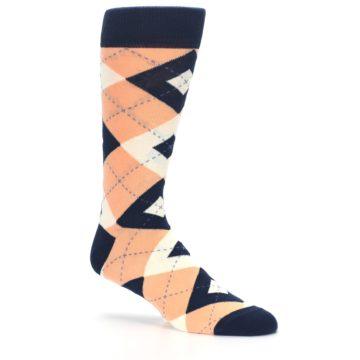 Image of Peach Navy Argyle Wedding Groomsmen Men's Dress Socks (side-1-26)