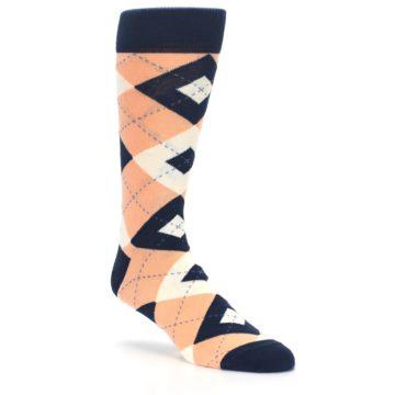 Image of Peach Navy Argyle Wedding Groomsmen Men's Dress Socks (side-1-27)