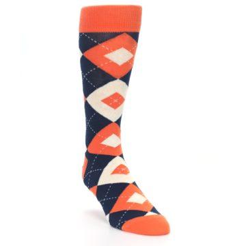 Image of Papaya Orange Navy Argyle Wedding Groomsmen Men's Dress Socks (side-1-front-02)