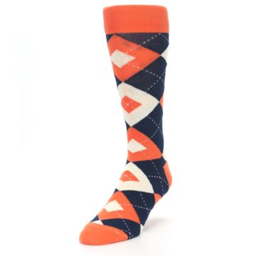 Image of Papaya Orange Navy Argyle Wedding Groomsmen Men's Dress Socks (side-2-front-07)