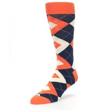 Image of Papaya Orange Navy Argyle Wedding Groomsmen Men's Dress Socks (side-2-front-08)