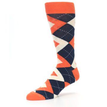 Image of Papaya Orange Navy Argyle Wedding Groomsmen Men's Dress Socks (side-2-09)