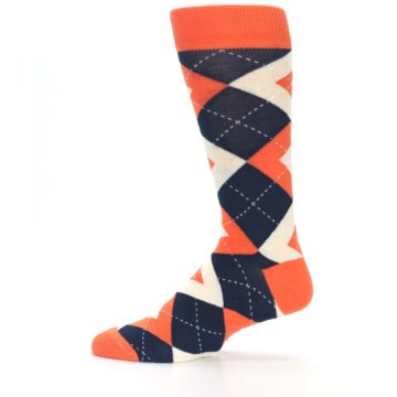 Image of Papaya Orange Navy Argyle Wedding Groomsmen Men's Dress Socks (side-2-12)