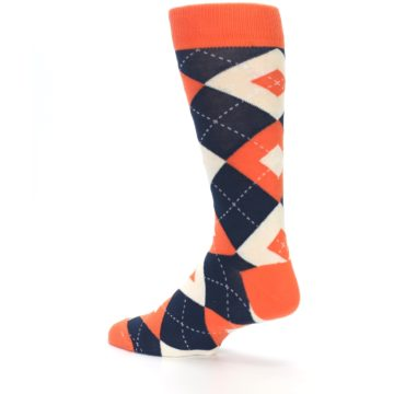 Image of Papaya Orange Navy Argyle Wedding Groomsmen Men's Dress Socks (side-2-back-14)