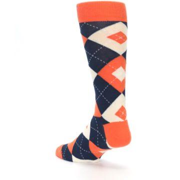 Image of Papaya Orange Navy Argyle Wedding Groomsmen Men's Dress Socks (side-2-back-15)