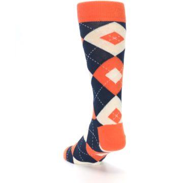 Image of Papaya Orange Navy Argyle Wedding Groomsmen Men's Dress Socks (side-2-back-16)
