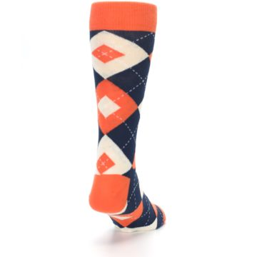 Image of Papaya Orange Navy Argyle Wedding Groomsmen Men's Dress Socks (side-1-back-20)