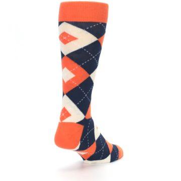Image of Papaya Orange Navy Argyle Wedding Groomsmen Men's Dress Socks (side-1-back-21)