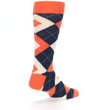 Image of Papaya Orange Navy Argyle Wedding Groomsmen Men's Dress Socks (side-1-back-22)