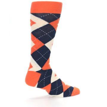 Image of Papaya Orange Navy Argyle Wedding Groomsmen Men's Dress Socks (side-1-23)