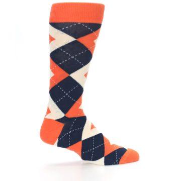 Image of Papaya Orange Navy Argyle Wedding Groomsmen Men's Dress Socks (side-1-24)