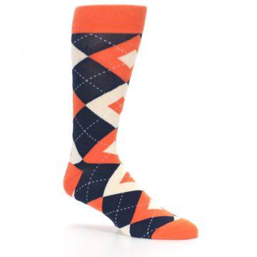 Image of Papaya Orange Navy Argyle Wedding Groomsmen Men's Dress Socks (side-1-26)