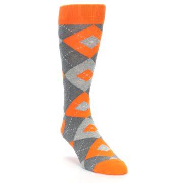 Image of Tangerine Orange Gray Argyle Men's Dress Socks (side-1-front-02)