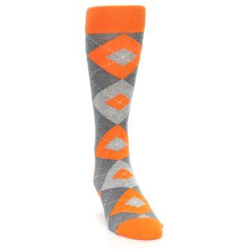 Image of Tangerine Orange Gray Argyle Men's Dress Socks (side-1-front-03)
