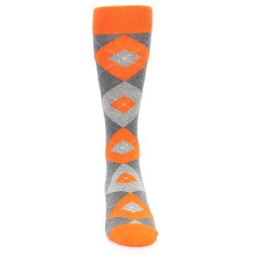Image of Tangerine Orange Gray Argyle Men's Dress Socks (front-04)