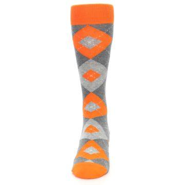 Image of Tangerine Orange Gray Argyle Men's Dress Socks (front-05)
