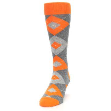 Image of Tangerine Orange Gray Argyle Men's Dress Socks (side-2-front-06)