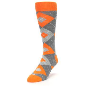 Image of Tangerine Orange Gray Argyle Men's Dress Socks (side-2-front-07)