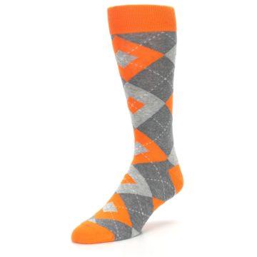 Image of Tangerine Orange Gray Argyle Men's Dress Socks (side-2-front-08)