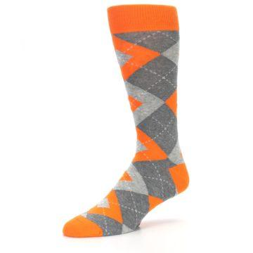 Image of Tangerine Orange Gray Argyle Men's Dress Socks (side-2-09)