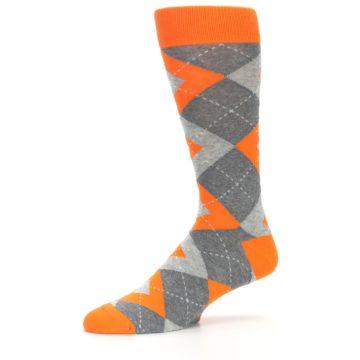 Image of Tangerine Orange Gray Argyle Men's Dress Socks (side-2-10)