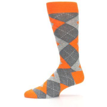 Image of Tangerine Orange Gray Argyle Men's Dress Socks (side-2-11)