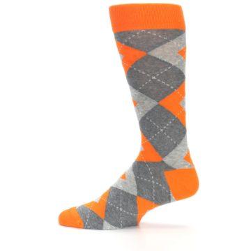 Image of Tangerine Orange Gray Argyle Men's Dress Socks (side-2-12)