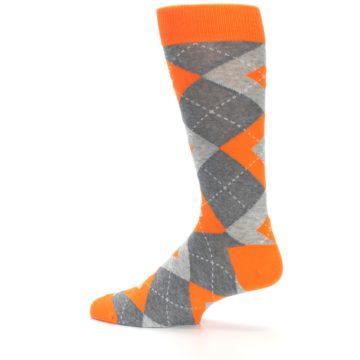Image of Tangerine Orange Gray Argyle Men's Dress Socks (side-2-13)