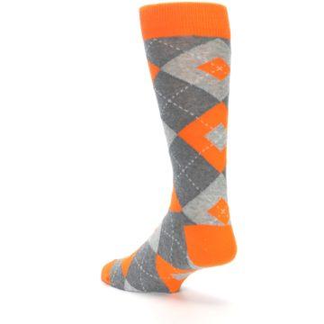 Image of Tangerine Orange Gray Argyle Men's Dress Socks (side-2-back-15)