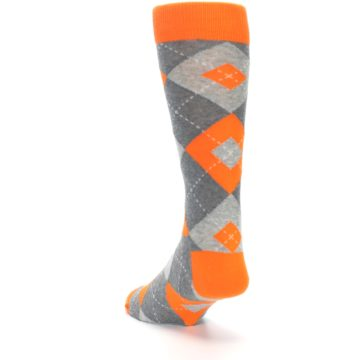 Image of Tangerine Orange Gray Argyle Men's Dress Socks (side-2-back-16)
