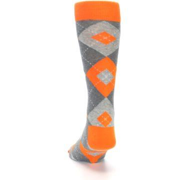 Image of Tangerine Orange Gray Argyle Men's Dress Socks (back-17)